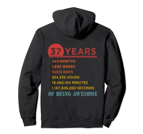 37th Birthday Gift 37 Years Old Being Awesome Vintage Pullover Hoodie