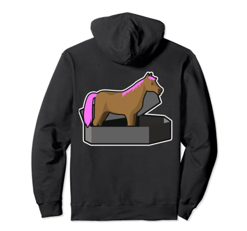 Pastel Goth Horse With Pink Mane & Tail, Coffin Design Pullover Hoodie