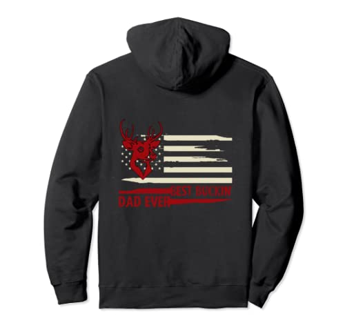 Usa Flag Best Buckin' Dad Ever Hunting Fathers Day Pullover Hoodie