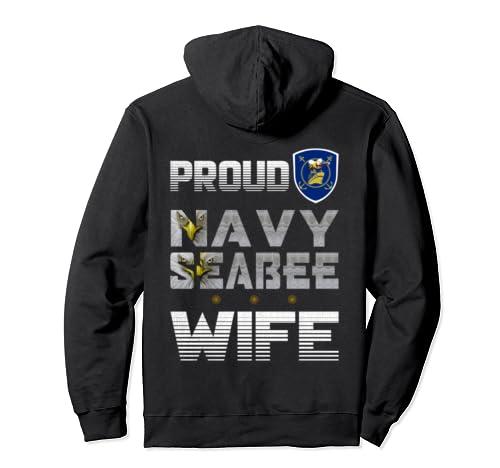 Proud Navy Seabee Wife, The Eyes Eagle Logo Bee Ship Veteran Pullover Hoodie