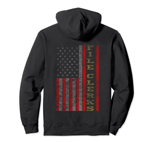 Cool Patriotic File Clerks Usa   Us Flag Gift Idea Pullover Hoodie