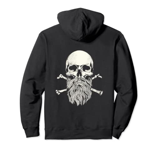 Skull And Beard Cool Bearded Skull And Crossbones  Pullover Hoodie