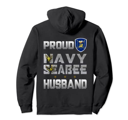 Proud Navy Seabee Husband, The Eyes Eagle Logo Bee Ship  Pullover Hoodie