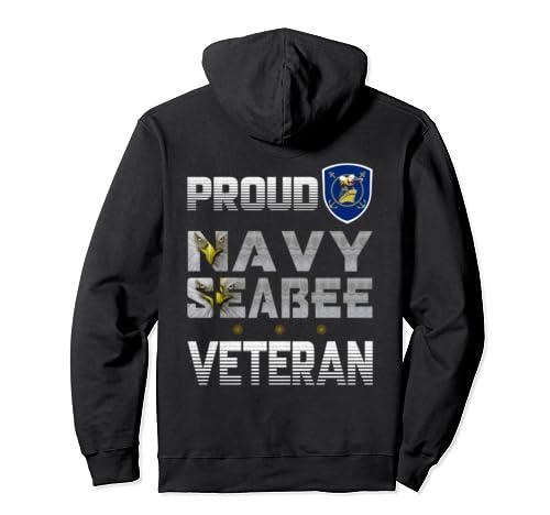 Proud Navy Seabee Veteran, The Eyes Eagle Logo Bee Ship  Pullover Hoodie
