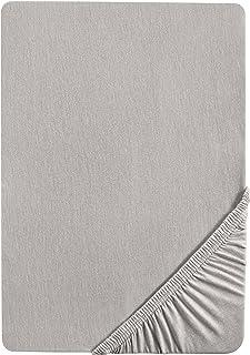 biberna 0077155 Drap housse en jersey, gris orage, 1x 90x190 cm > 100x200 cm