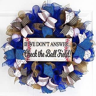 Baseball Ball Field Mesh Door Wreath; If We Don't Answer Baseball Stitching | Royal Blue White Red