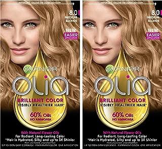 Garnier Olia Ammonia-Free Brilliant Color Oil-Rich Permanent Hair Color, 8.0 Medium Blonde (2 Count) Blonde Hair Dye