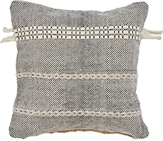 """L.R. Resources Zanthia Banded Indoor Throw Pillow, 20"""" x 20"""", Black/Natural"""