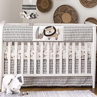 Levtex Baby - Tanzania Rail Guard - Appliqued and Embroidered Lion - Charcoal, Cream and Tan - Nursery Accessories - Fits ...