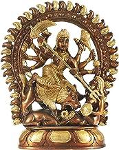 Mahishasura-Mardini Goddess Durga - Brass Statue - Color Brown Gold Color