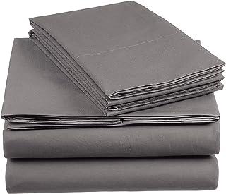 AmazonBasics Everyday - Juego de fundas de edredón nórdico y de almohada (100% algodón) Gris oscuro - 260 x 240 cm y 2 fundas 65 x 65 cm
