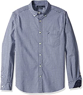 Classic Fit Stretch Gingham Long Sleeve Button Down Shirt