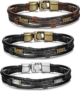 ORAZIO 3PCS Leather Bracelet for Men Vintage Braided Wrist Cuff Bangle, 8.5 Inches