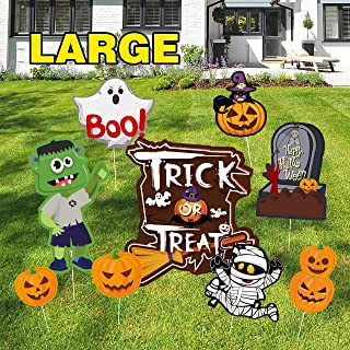 Sunshine Halloween Decorations Outdoor, 9 Pcs Yard Signs for Halloween Props Yard Stakes, Friendly Pumpkins Skeleton Ghost Lawn Yard Party Decor, Extra Large Trick or Treat Halloween Props
