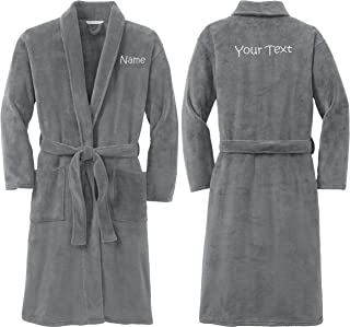 Personalized Plush Microfleece Robe with Embroidered Name & Back, Smoke