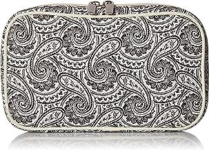 Simplily Co. Jewelry & Accessories Travel Organizer Bag Case (White & Black Paisley Print Exterior & Beige Interior)