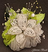 Corsage Pin on Lime Green BEADED Lily with roses, beads, and rhinestones. Also sold with matching silk boutonniere. Other colors offered in my Amazon store