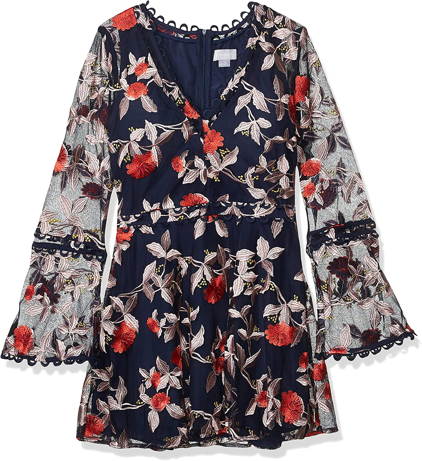 findersKEEPERS Women's Rituals V Neck Embroidered Mini Flare Dress with Long Sleeve