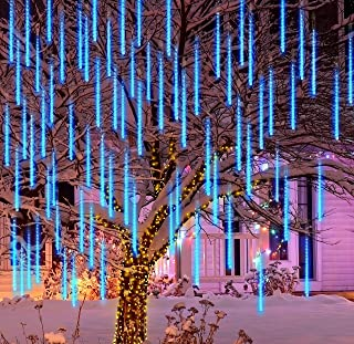 Joiedomi 2 Packs Christmas Meteor Shower Lights Falling Rain Drop Icicle String Lights 240 LEDs 8 Tube 30cm/12inch Blue fo...