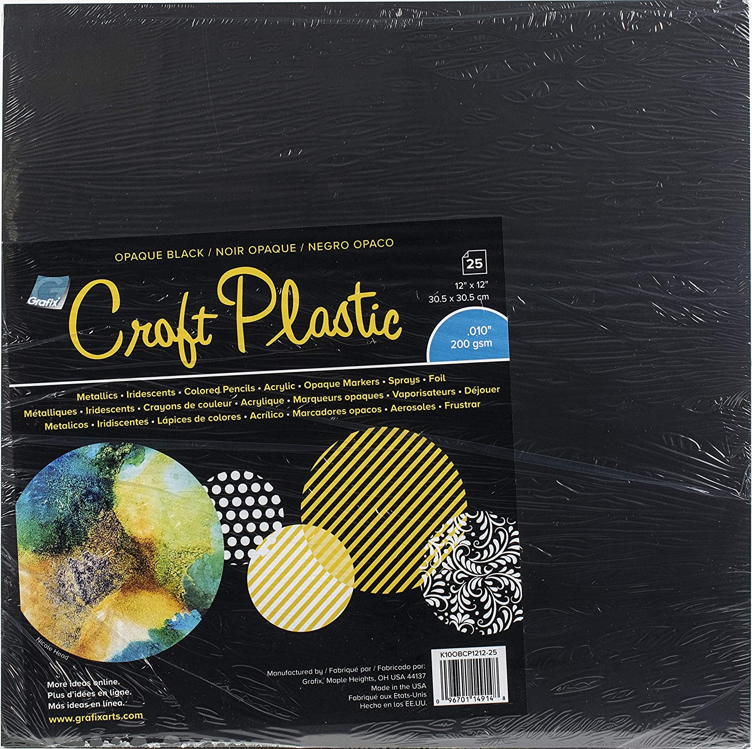 """Regular discount Grafix Opaque Craft Plastic – Black 12 Spring new work one after another 12"""" Pack Opaq of x 25"""