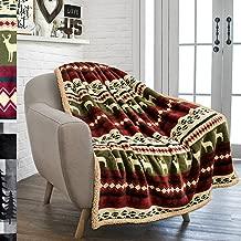 PAVILIA Premium Plush Sherpa Throw Christmas Blanket   Soft, Warm, Cozy, Reversible Microfiber Fleece Winter Cabin Throw   Holiday Theme Blanket 50 x 60 (Red)