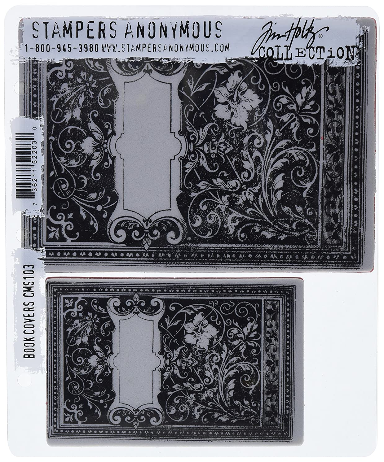 Stampers Anonymous Tim Holtz Cling Rubber Stamp Set, Book Covers
