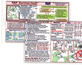 NRP (Neonatal Resuscitation Program) SURVIVAL CARD Quick Reference Guide (Large 3.5 x 5.5 inches - index card or pocket size) - Laminated with hole punched - Water Resistant