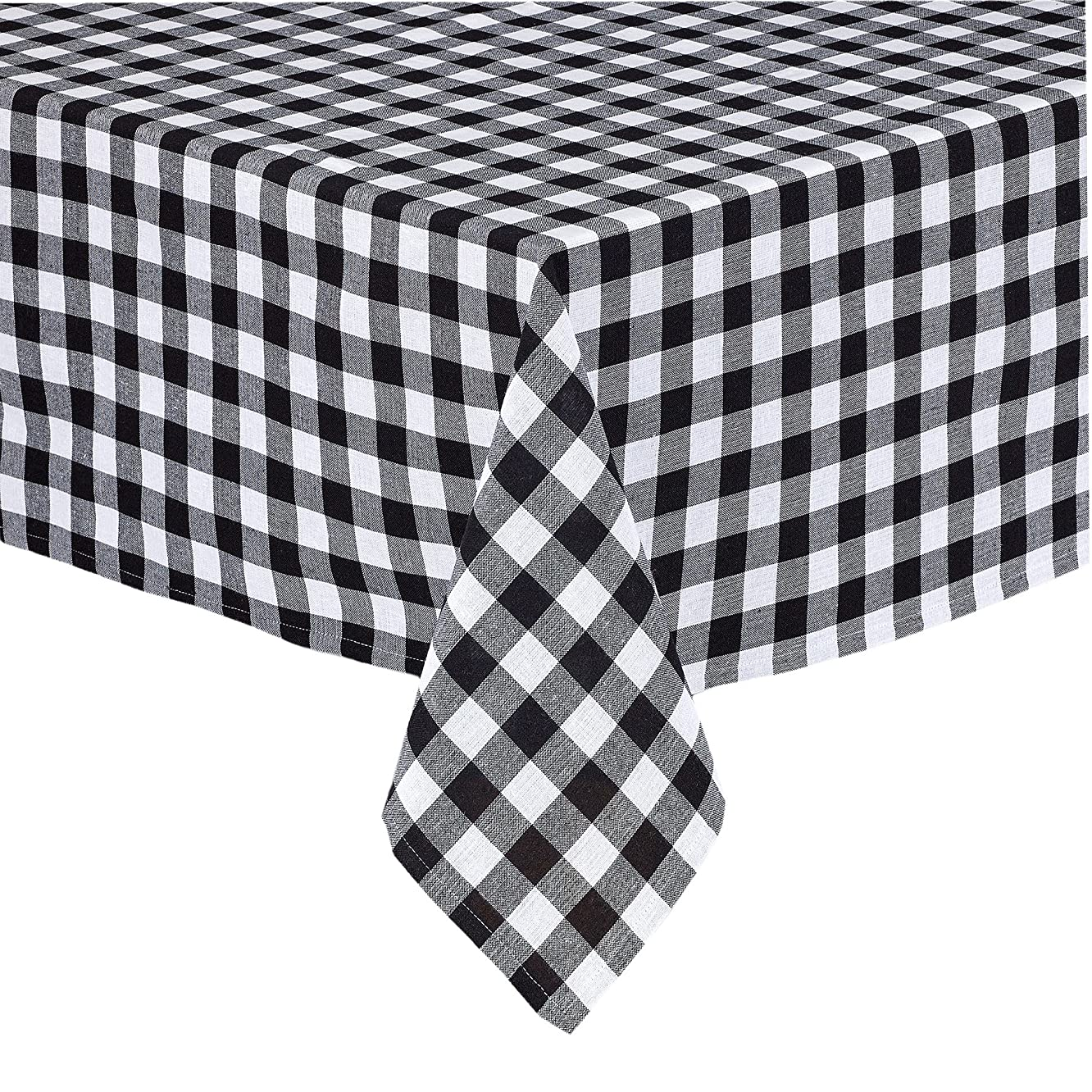 Lintex Buffalo Gingham Check Indoor/Outdoor Casual Casual Cotton Tablecloth, Buffalo Plaid 100% Cotton Weave Kitchen, Patio and Dining Room Tablecloth, 52 x 52 Square, Black