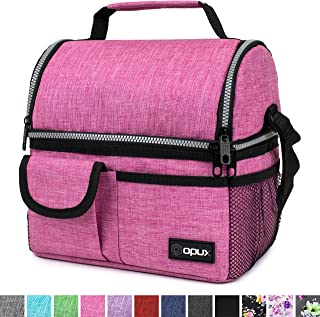 OPUX Insulated Dual Compartment Lunch Bag for Women   Double Deck Reusable Lunch Pail Cooler Bag with Shoulder Strap, Soft Leakproof Liner   Large Lunch Box Tote for Work, School (Pink)