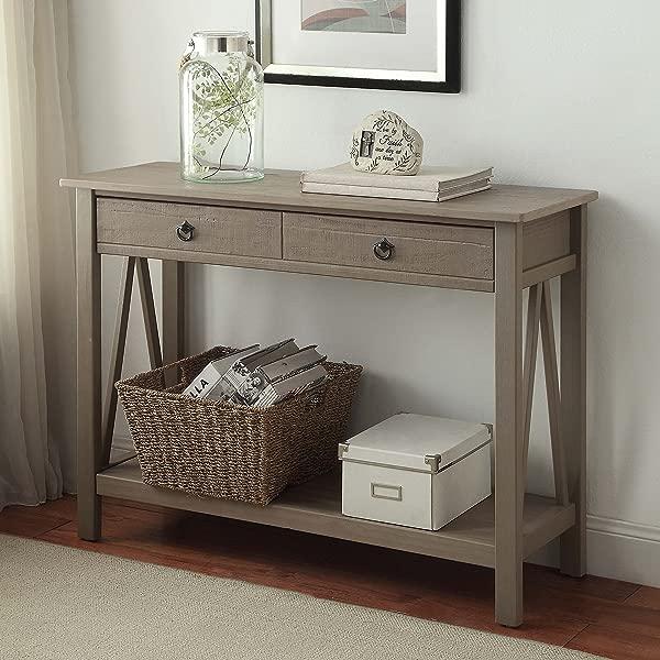 FurnitureMaxx Maloof Rustic Gray Pine Wood Console Table