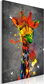11.8x23.6 Kein Rahmen ZMFBHFBH Neugierige Giraffen Familie Leinwand Druck Plakate Kinder Krankenschwester Zimmer Wandkunst Dekor Giraffe Brille Lustige Bilder 30x60cm