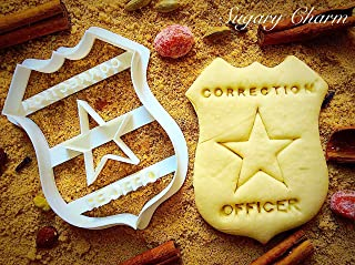 Correction Officer Badge Cookie Cutter - Police Shaped Mold For Baking Cookies - Unique Corrections Kitchen 3D Stamps by Sugary Charm - Sheriffs Biscuit Cutters - Embossing Imprint Patriotic Stamper