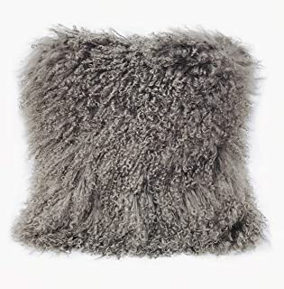 Gentle Nature 100% Real Mongolian Lamb Fur Curly Wool Pillow Cushion,Home Decorative Sheepskin Throw Pillow with Insert Included,16x16in,Light Gray