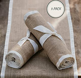 WildIvory 3 x Pack Burlap Table Runners - Natural Fabric and Soft Ribbon Edging - 12 X 108 inch Beautifully Textured to Inspire Country Warmth, Rustic Charm and Relaxed Elegance.