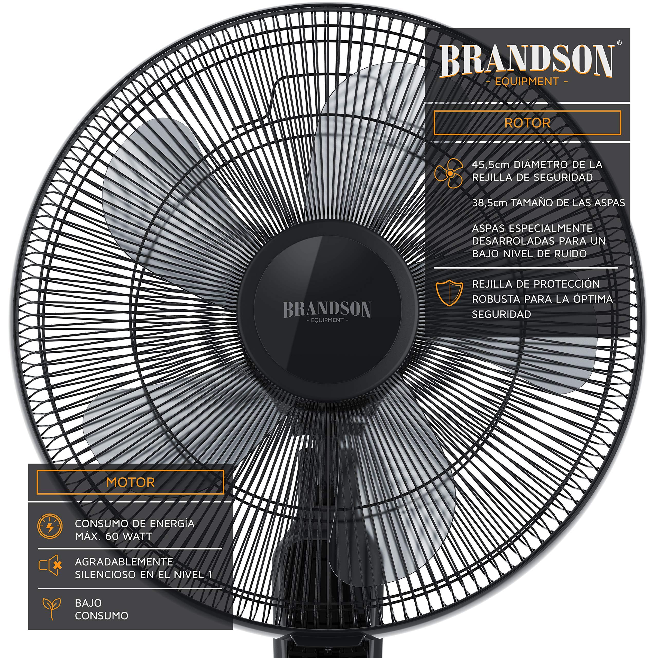 Brandson - Ventilador de pie con telecomando y Pantalla LED ...