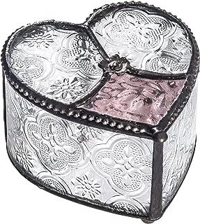 J Devlin Box 520 Curved Glass Heart Box Vintage Rose Pink Keepsake Romantic Gift Vanity Jewelry Display Trinket Box