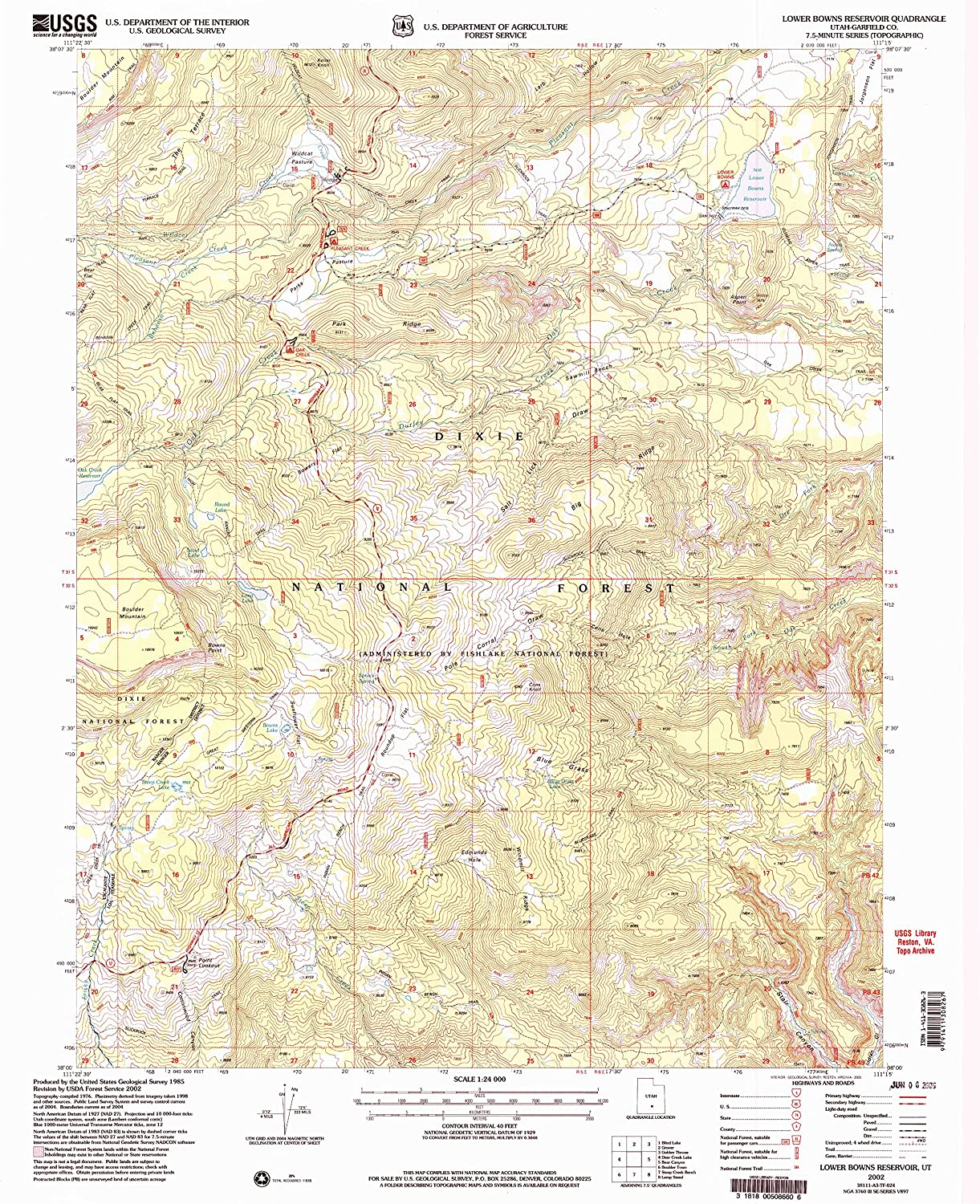 Lower Bowns Reservoir UT topo map, 1 24000 Scale, 7.5 X 7.5 Minute, Historical, 2002, Updated 2005, 26.8 x 21.8 in
