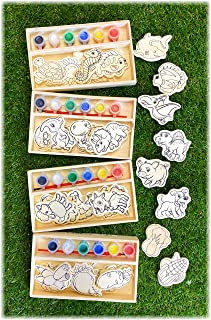 Deluxe Paint-Your-Own Wooden Shapes Sets Featuring Dinosaurs, Vegetables, Sea Animals & Farm Animals Gift Set Bundle (Each...