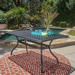 Christopher Knight Home 296512 Taylor Black Sand Cast Aluminum Rectangle Table, Color