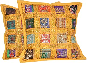 ANJANIYA 2 Embroidery Sequin Cushion Cover 16x16 inches Indian Boho Hippie Patchwork Throw Pillow Cushion Cover Decorative Bohemian Pillows Cotton Hand Embroidered Pillow Cases (Yellow)