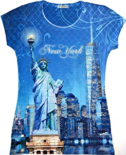 New York NYC T-Shirt | Colorful and Vivid Printing | Decorated with Rhinestones