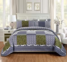 Fancy Linen 3pc King/California King Quilt Bedspread Set Over Size Bed Cover Squares Floral Stripped Zig Zag Green Purple Blue White New