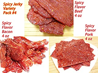 Variety Pack #4 Spicy Flavor Beef and Pork Jerky (12 Ounce weight) - Spicy Flavor Beef (4 oz), Spicy Pork (4 oz), Spicy Bacon (4 oz)