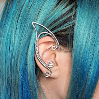 Faramir earcuff orecchini orecchie elfiche in filo wire argentato per costumi, matrimoni e festival, regalo originale