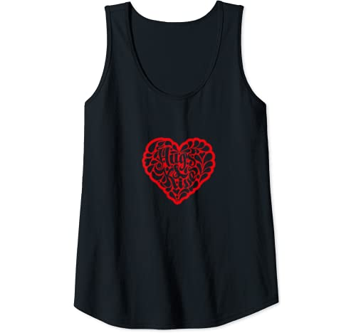 Womens Hugs & Kisses Heart Love Yourself Galentines Day Valentines Tank Top