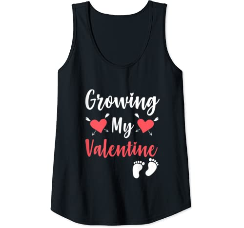 Womens Growing My Valentine  Valentine's Day Pregnancy Announcement Tank Top