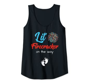 625424087b81a Amazon.com: Womens 4th Of July Pregnancy Shirt Lil' Firecracker On The Way  Tank Top: Clothing