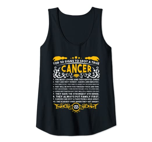 Amazon com: Vintage-Cancer Top-10-Signs Zodiac Birthday Tank