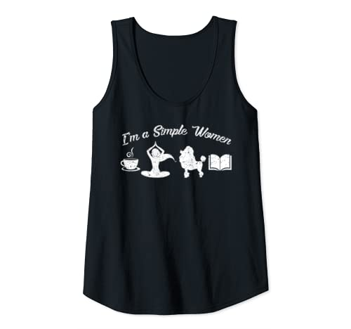 Womens Women Life Love Drink Coffee Do Yoga Poodle Dog Reading Book Tank Top