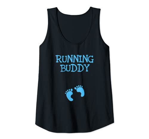 Womens Running Buddy Funny Cute Pregnancy Announcement Blue Text Tank Top